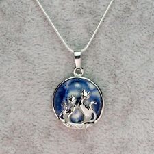 Silver Plated Cats Over Sodalite Stone Pendant On A Silver Necklace