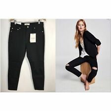 COUNTRY ROAD BLACK RIPPED SKINNY HIGH RISE JEANS - SIZE 14 SUIT 12 RRP$139
