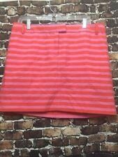 J Crew Pink Orange Stripe Embroidered Skirt Mini $88 XL