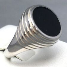 "LARGE 925 STERLING SILVER ROUND ""ONYX"" PATTERNED SIGNET RING   SIZE ""W""   064"