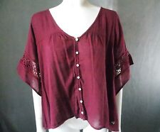 Women's sz M Hollister Asymmetrical Shirt Nwts brick brown floral lace 817-h3