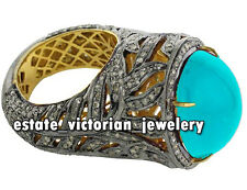Artdeco Estate 6.35cts Rose cut Diamond Silver Turquoise Cocktails Ring Jewelry