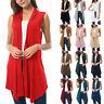 Women Sleeveless Draped Open Front Cardigan Tops Vest Asymmetric Hem Blouse