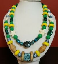 Handmade Acrylic & Agate 2 Strand Necklace Green/Yellow/White Beige Accents 48cm