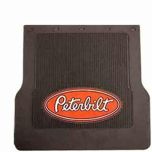 """Peterbilt Trucks 16""""-18"""" X 17"""" x 1/4"""" MF0004P Black Rubber Logo Mud Flaps-Set"""