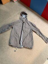 H&M Divided NO FEELS Gray Zip Up Utility Jacket Drawstring Hooded Sz S Sm Small