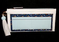 TORY BURCH Colorblock Floral Print Top Zip Tassel Wallet Clutch White Croc $298