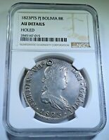 NGC 1823 PJ Bolivia AU Details Silver 8 Reales Old Antique Colonial Dollar Coin