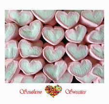 PINK & WHITE MARSHMALLOW HEARTS 1KG STRAWBERRY MALLOWS LOLLIES CANDY BUFFET BULK