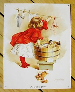 Busy Day Ivory Soap TIN SIGN doll girl print art vtg laundry metal wall decor 95