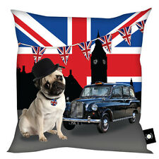 LONDON 2012 UNION JACK PUG DOG DESIGN CUSHION FUN KEEPSAKE