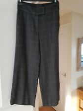 Smart H&M Dark Grey Check Cropped Trousers, Eue Size 36 (UK Size 8) GC