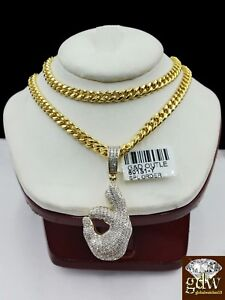 "Real 10k Yellow Gold and Diamond Ok Hand Emoji Charm with 22"" Miami Cuban Chain."