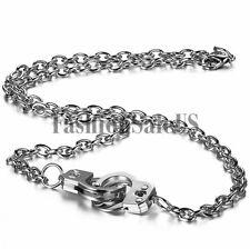 Unique Men's Women's Silver Alloy Handcuffs Pendant Fashion Cool Necklace Chain