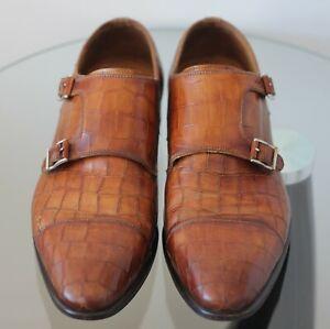 Magnanni Double Monk Strap Shoes Brown Leather 17518 Men Size 41 EU