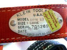 NOS New Klein Tools Model 5446 Linemans Nylon Safety Belt Leather Billet