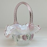 FENTON GLASS BASKET FRENCH OPALESCENT Optic SWIRL ROSES Flowers Hand Painted