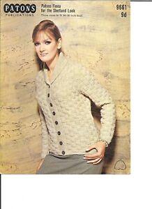 "Vintage Patons Knitting Pattern Ladies DK Textured Cardigan 34-38"" Bust"