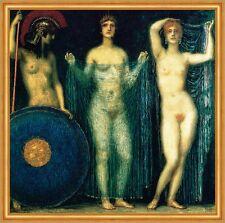 Franz von Stuck 23 Die drei Göttinnen Leinwand 73x74 ATHENA HERA APHRODITE