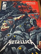 Metallica lithograph poster Antwerp Belgium  glass Hardwired Hetfield knob glass