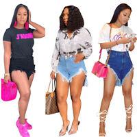 Women High Waist Bodycon Summer Club Worn Out Tassels Jeans Short Denim Pants