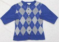 Charter Club P/P Sweater Long Sleeve Blue Gray Women's Cotton Cardigan Top Woman