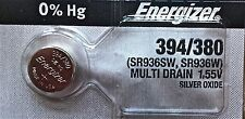 ENERGIZER 394 380 WATCH BATTERIES SR936SW Sealed Authorized Seller