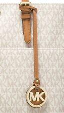 Michael Kors MK Gold Charm / Acorn Brown Genuine Leather Long Strap Handbag Fob