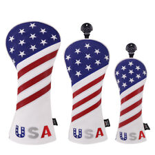 USA Patriot Golf Club Head Covers Set Headcovers for Driver Fairway Hybrid Stars