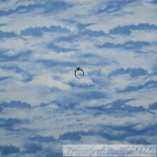 BonEful Fabric FQ Cotton Quilt Blue White Cloud Sky Scenic Blender Texture Baby