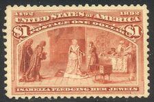 U.S. #241 Unused w/Cert - 1893 $1.00 Coulmbian ($500)