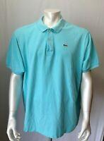 Lacoste Men's 6 (Large) Blue Cuffed Short Sleeve Logo Pique Polo Shirt