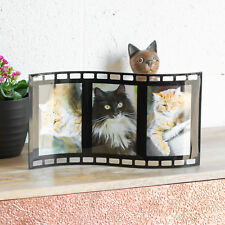 "Large Black Glass Film Cell 3 Photo Frame 4"" X 6"" Portrait Standing Picture"