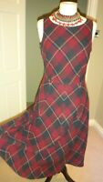 Monsoon Burgundy Mix Check 70% Cotton Sleeveless Shift Dress Size UK 10
