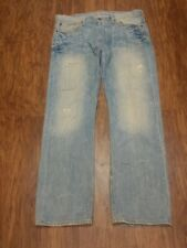 American Eagle Men's Light Blue Destroyed RELAXED Jeans 36 X 32