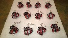 12 HANDMADE CHRISTMAS ORNAMENTS MADE WITH BLING BLACK AND RED