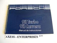 1986 Porsche 911 Carrera 930 Turbo Owners Manual FRENCH Instrucciones Book E152