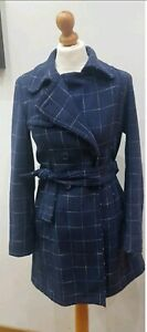 Max&co Cappotto Check tartan stile trench blu woman wool coat stripes manteau