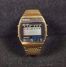 Vintage Armitron LCD wrist watch gold tone Parts or Repair