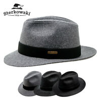 Sterkowski CORLEONE Wool Fedora Crown Hat Vintage Retro Elegant Wide Brim