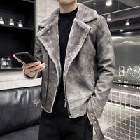 Men Motorcycle Leather Jacket Biker Fleece Lined Outwear Winter Korean Coat Warm
