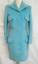 RARE GIANNI VERSACE turquoise Blue Angora Wool Fitted Coat IT 40 UK 8 10