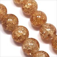 Lot de 20 Perles Craquelées en Verre 12mm Marron