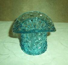 Daisy Button Pattern Glass Top Hat Toothpick Votive Candle Vintage Blue Fenton