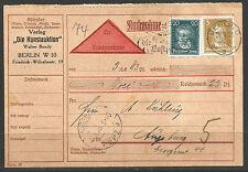 "La Germania. 1928. nachnahme – contrassegno CARD. Walter Bondy ""DIE artauktion""."