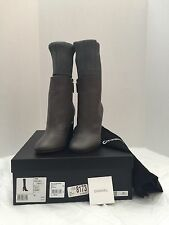 New Chanel 16K Leather Short Boots With Stockings, Grey/Black, Size 5 (35)