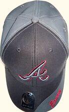 ATLANTA BRAVES ADULT ADJUSTABLE BLACK & GRAY CAP HAT W/ LOGO & TEAM NAME ON BILL
