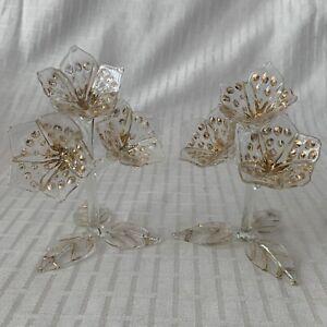 X2 Vintage Small Glass Flowers Figures. ~ 11cm Tall ~ Handmade