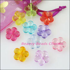 30Pcs Mixed Plastic Acrylic Clear Star Flower Spacer Beads Charms 14.5mm