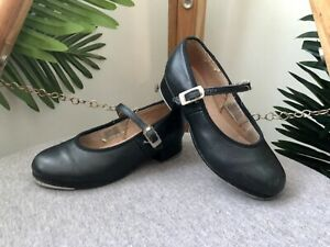 BLOCH Tap Shoes Girls Size 11 Black Dance Dancing Leather Innersole 17.5cm